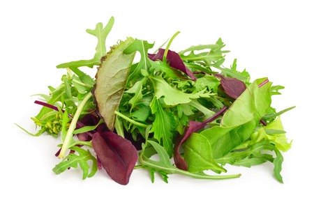 Mix of different salads isolated on white background.