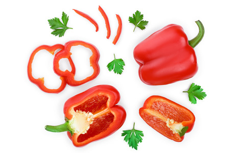 red sweet bell pepper isolated on white background. Top view. Flat lay Stok Fotoğraf