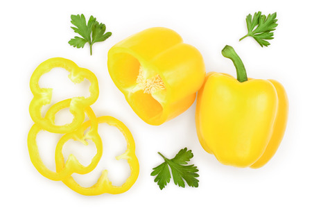 yellow sweet bell pepper isolated on white background. Top view. Flat lay