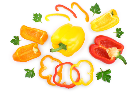 red yellow orange sweet bell pepper isolated on white background. Top view. Flat lay
