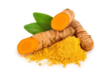 turmeric root and powder isolated on white background close up 스톡 콘텐츠