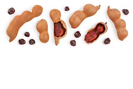 Tamarind fruit with seed isolated on white  with copy space for your text. Top view. Flat lay
