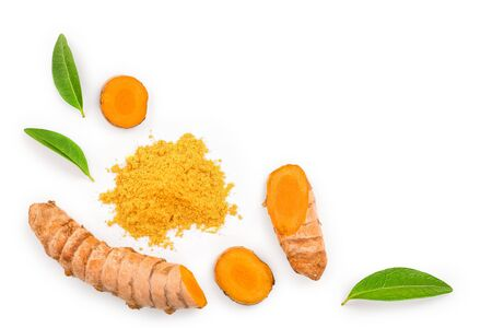 Turmeric powder and turmeric root isolated on white with copy space for your text. Top view. Flat lay