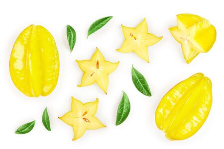 Carambola or star-fruit with leaf isolated on white background. Top view. Flat lay Standard-Bild