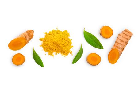 Turmeric powder and turmeric root isolated on white background with copy space for your text. Top view. Flat lay Stock Photo