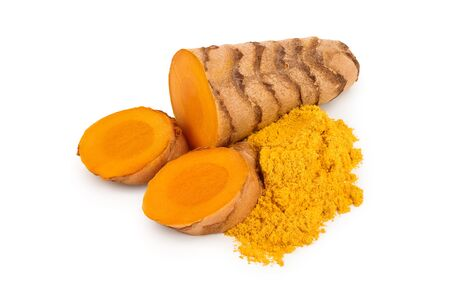 turmeric root and powder isolated on white background close up Stock Photo