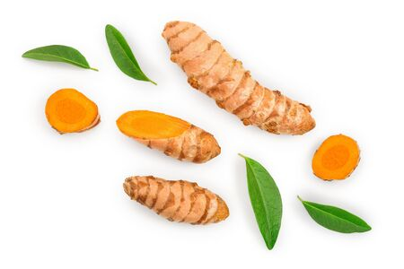 Turmeric root and slice isolated on white background with copy space for your text. Top view. Flat lay.