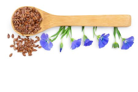 flax seeds in wooden spoon with flower isolated on white background