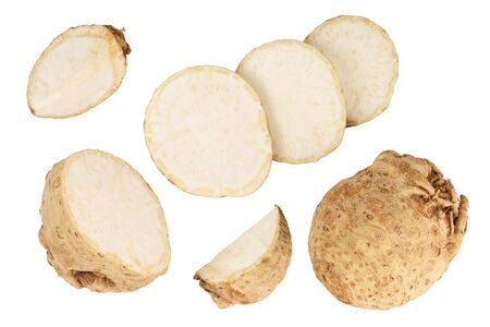Fresh celery root isolated on white background. Top view. Flat lay. Set or collection 写真素材
