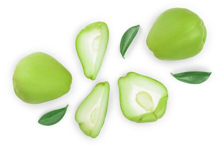fresh Chayote vegetable isolated on white background. Top view. Flat lay