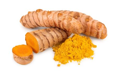 turmeric root and powder isolated on white background close up Stock fotó