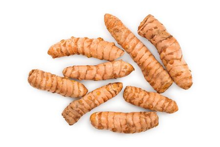 Turmeric root isolated on white background. Top view. Flat lay