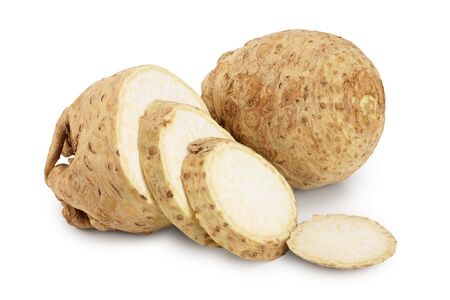 Fresh celery root isolated on white background