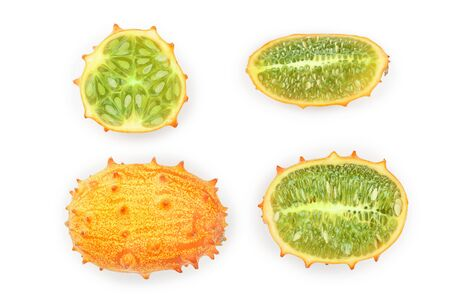 Kiwano or horned melon isolated on white background, Top view. Flat lay.