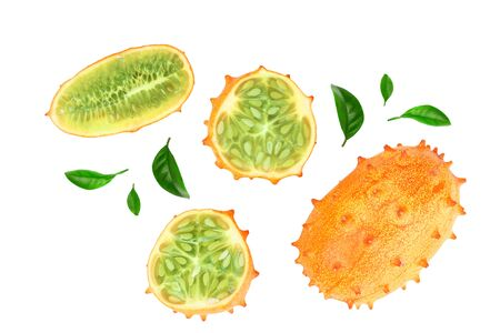 Kiwano or horned melon with leaves isolated on white background, Top view. Flat lay.