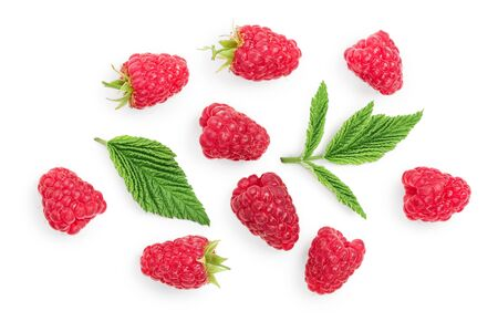 raspberries with leaves isolated on white background. Top view. Flat lay Stockfoto - 128619377