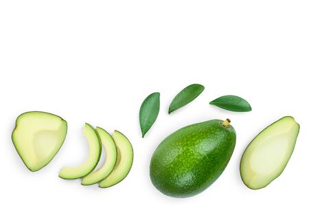 avocado and slices decorated with green leaves isolated on white background with copy space for your text. Top view. Flat lay,