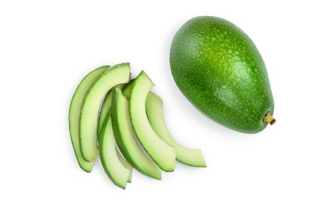 avocado and slices isolated on white background. Top view. Flat lay, Stockfoto - 128619384