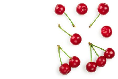 Some cherries with leaf closeup isolated on white background. With copy space for your text. Top view. Flat lay 写真素材