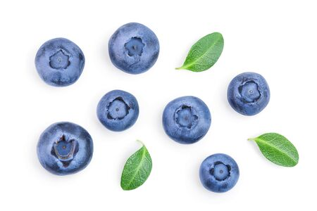 fresh ripe blueberry with leaves isolated on white background. Top view. Flat lay pattern