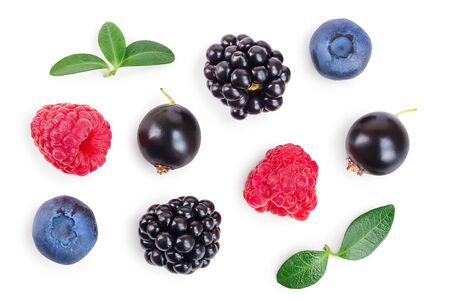 mix of blackberry blueberry raspberry isolated on white background. Top view. Flat lay pattern 写真素材