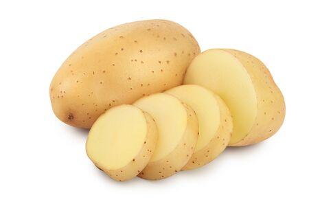 Jeune pomme de terre isolée sur fond blanc. Récolter nouveau Banque d'images