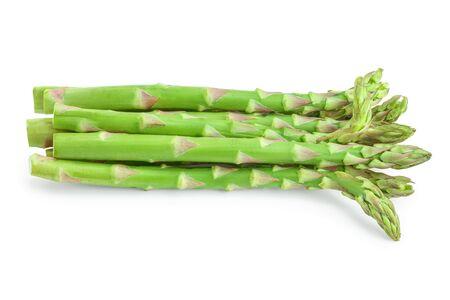 Fresh sprouts of asparagus isolated on white background