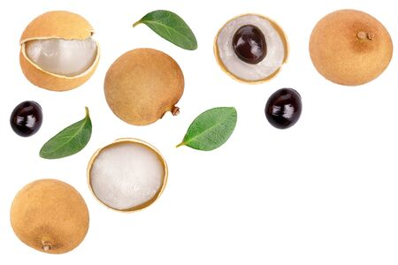 Fresh longan fruit with leaves isolated on white backgroundwith copy space for your text. Top view. Flat lay Stockfoto
