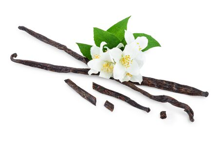 Vanilla sticks with flower and leaf isolated on white background Reklamní fotografie