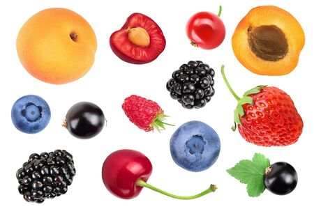 mix of different berry isolated on white background. Top view. Flat lay pattern Stock fotó