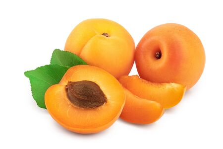 Apricot fruit with half isolated on white background macro