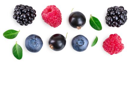 blackberry blueberry raspberry black currant isolated on white background with copy space for your text. Top view. Flat lay pattern Stok Fotoğraf - 129831231