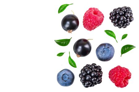 blackberry blueberry raspberry black currant isolated on white background with copy space for your text. Top view. Flat lay pattern Stok Fotoğraf - 129831228