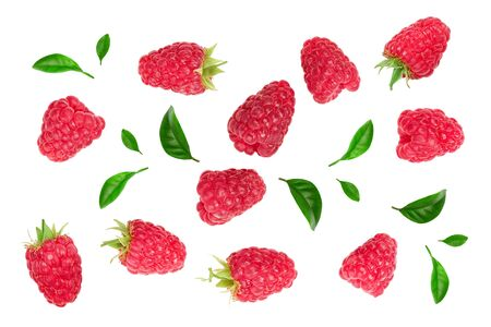 raspberries with leaves isolated on white background. Top view. Flat lay 스톡 콘텐츠