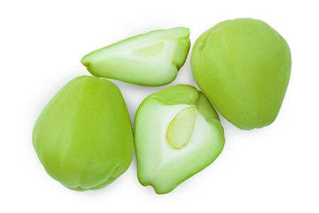 fresh Chayote vegetable or mexican cucumber isolated on white background. Top view. Flat lay 写真素材