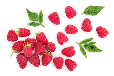 raspberries with leaves isolated on white background. Top view. Flat lay Reklamní fotografie