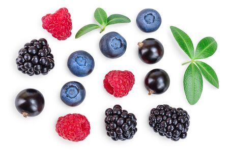mix of blackberry blueberry raspberry isolated on white background. Top view. Flat lay pattern Reklamní fotografie