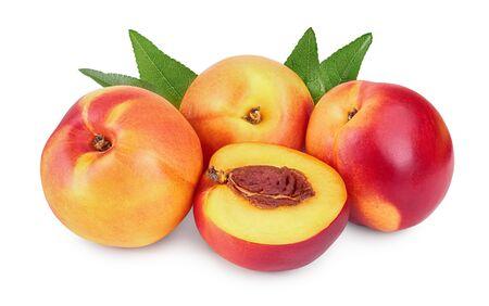 Nectarine fruit and half with leaf isolated on white background
