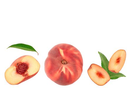 Ripe chinese flat peach fruit and half with leaf isolated on white background. Top view. Flat lay 写真素材