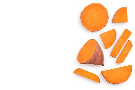 Sweet potato isolated on white background with copy space. Top view. Flat lay. 写真素材