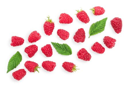 raspberries with leaves isolated on white background with copy space for your text. Top view. Flat lay