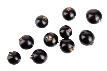 black currant isolated on white background. Top view. Flat lay pattern