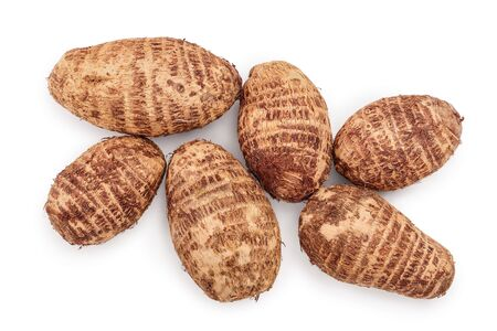 fresh taro root isolated on white background. Top view. Flat lay