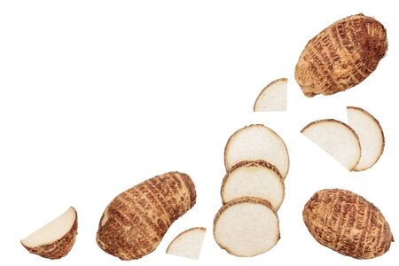 fresh taro root isolated on white background with copy space for your text. Top view. Flat lay. Set or collection