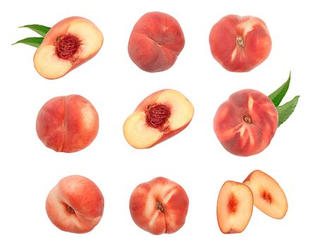 Ripe chinese flat peach fruit with leaf isolated on white background. Top view. Flat lay. Set or collection