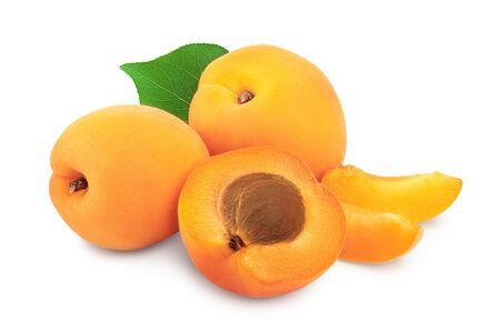 Apricot fruit with half isolated on white background macro.