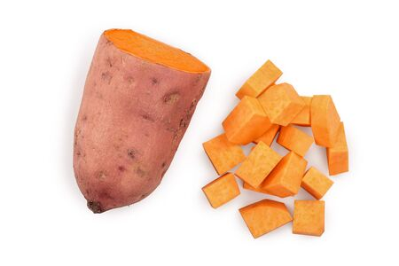 Sweet potato isolated on white background closeup. Top view. Flat lay