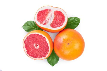 Grapefruit and slices with leaves isolated on white background. Top view. Flat lay. Imagens