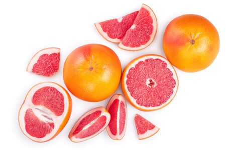 Grapefruit and slices isolated on white background. Top view. Flat lay Imagens