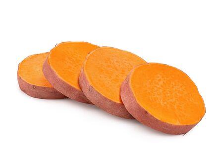 Sweet potato slices isolated on white background closeup.